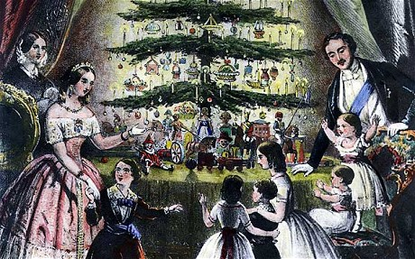 Queen Victoria, Prince Albert, and family around their Christmas tree. The Prince Consort introduced Christmas trees to England in the 1840s.
