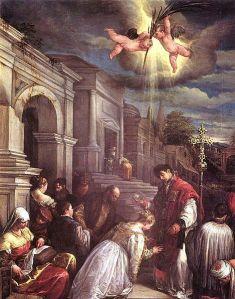 St. Valentine Baptizing St. Lucilia, by Jacopo Bassano (1510-1592)