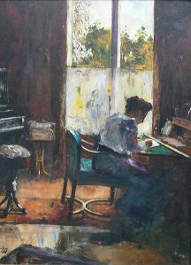 Woman at Writing Desk, Lesser Ury, 1898